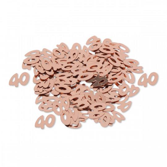 """Sachet confettis de table """"40"""" rose gold 1 cm"""