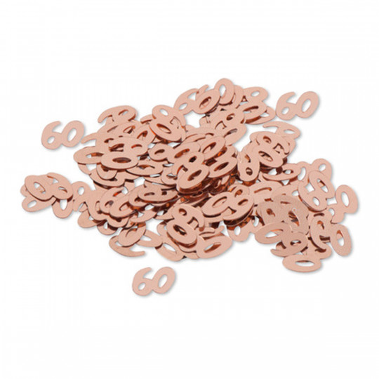 """Sachet confettis de table """"60"""" rose gold 1 cm"""
