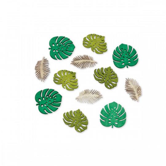 12 feuilles tropicales en bois vert et blanc.
