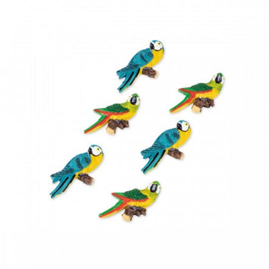 6 magnifiques perroquets sur adhésif.