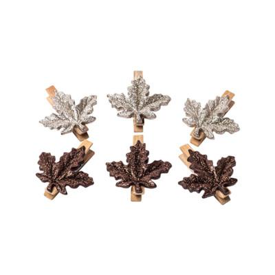 6 feuilles d'érable paillettes,cuivre et chocolat sur pince bois
