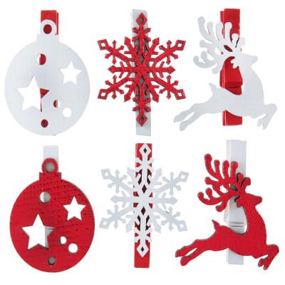 Pince Esprit de Noël rouge en bois