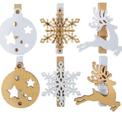 Pince Esprit de Noël or en bois