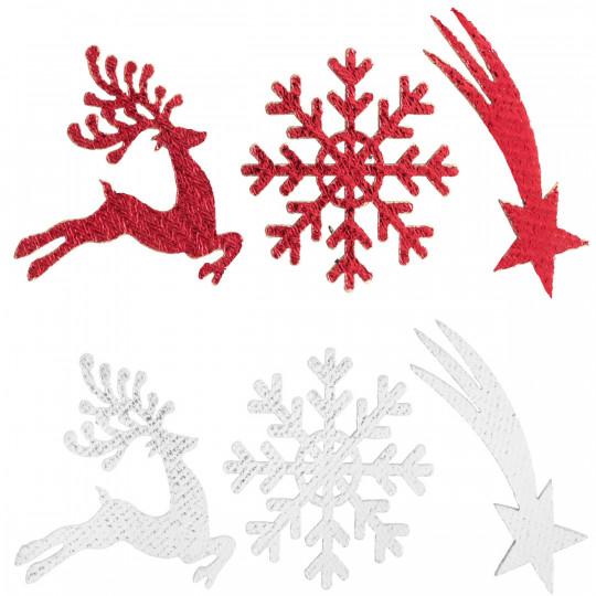 Assortiment de sujets Esprit de Noël rouge en bois