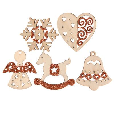 Assortiment de sujets de Noël en bois et paillettes cuivre