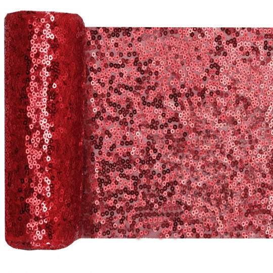 Chemin de table sequins rouge