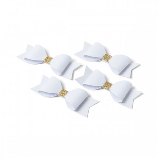 4 Noeuds papillons adhésifs blanc et paillettes or.