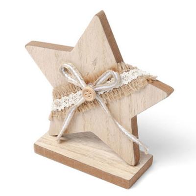Etoile en bois cérusé avec jute et dentelle