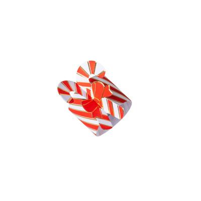 8 Ronds de serviettes Tradi Candy rouge, blanc et or.
