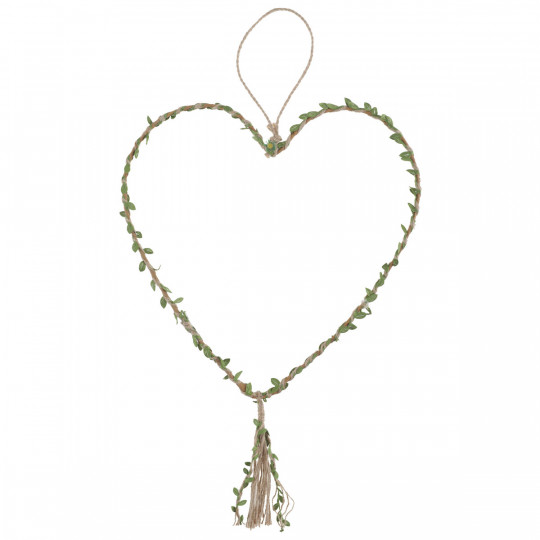 Suspension coeur entourée de corde et feuillage.