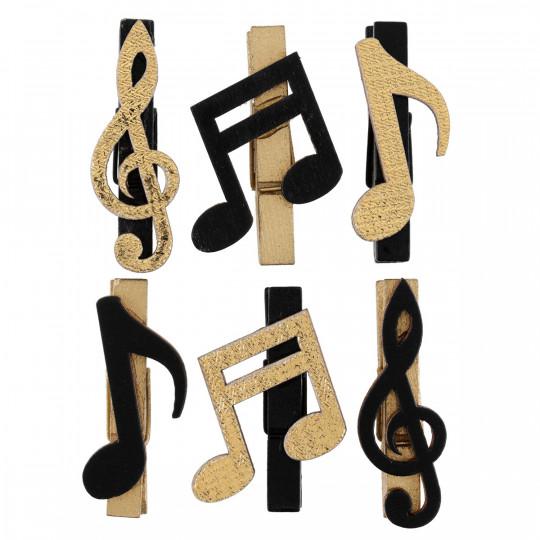 6 pinces notes de musique en bois noir et or.