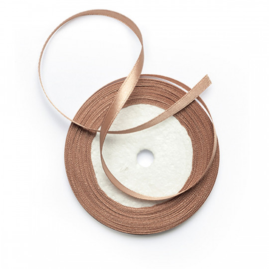 Ruban satin double face taupe 20 m x 6mm
