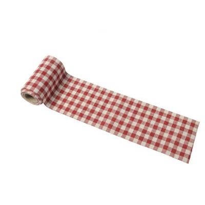 Ruban Vichy rétro lin rouge et blanc
