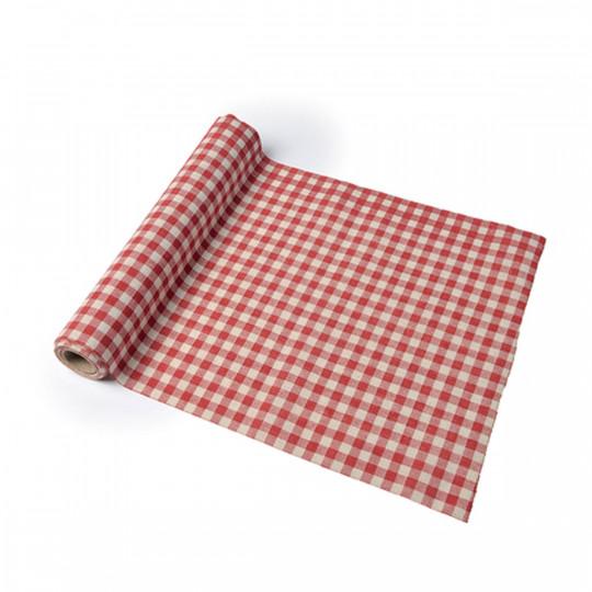 Chemin de table Vichy rétro en lin rouge et blanc