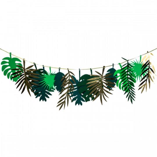 Guirlande feuilles tropicales or et dégradé de vert