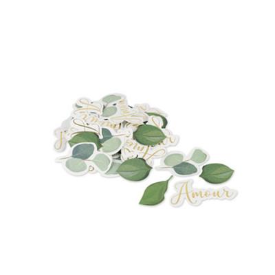 100 confettis Amour et feuilles eucalyptus texture embossée or