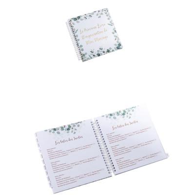 Livre d'organisation de mariage eucalyptus et dorure