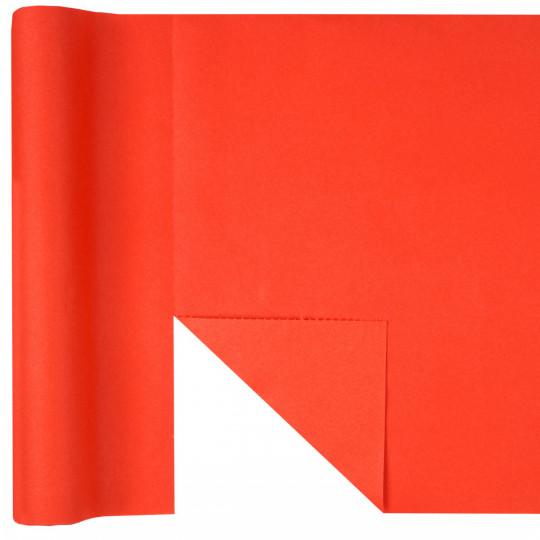 Chemin de table 3 en 1 uni rouge éclatant jetable