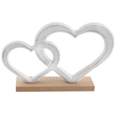Double coeur en bois blanc