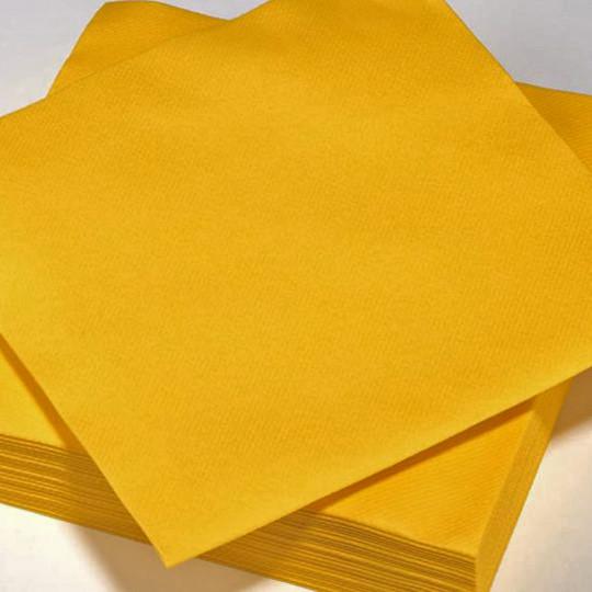 Serviette couleur bouton d'or jetable