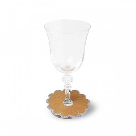 8 Marque-verre feston kraft et paillettes argent.