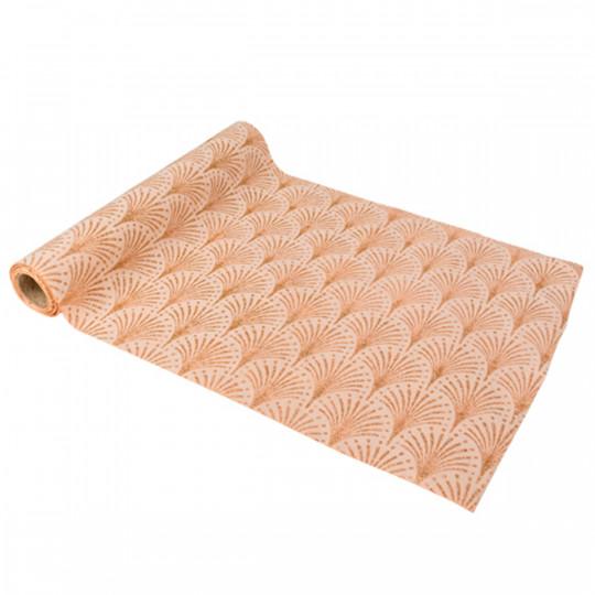 Chemin de table art déco suédine rose poudré et paillettes