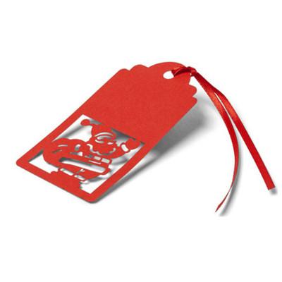 10 Marques place ou étiquettes cadeaux rouge avec découpe Père Noël