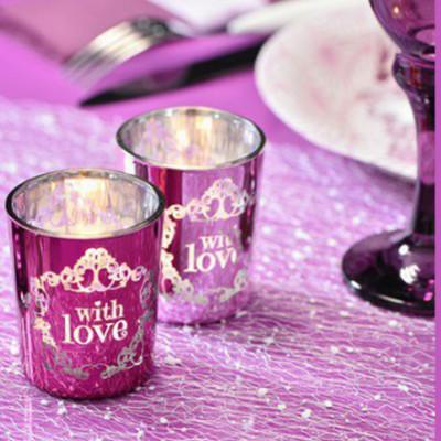 """2 Photophores vintage """"With Love"""" Rose et Violet."""