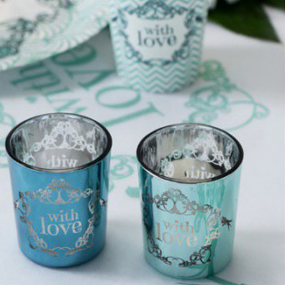 "2 Photophores vintage ""With Love"" Turquoise et Vert"