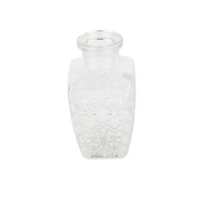 Vase en verre carré et sculpté à l'ancienne.