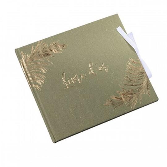 Livre d'or kaki et jolie pampa embossée or