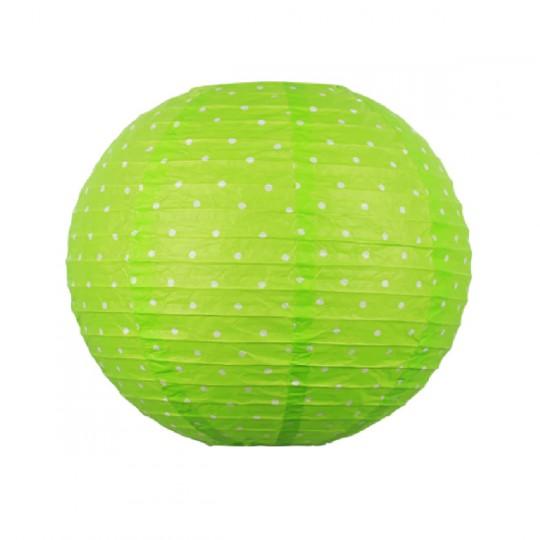 Boule japonaise verte décor pois blanc