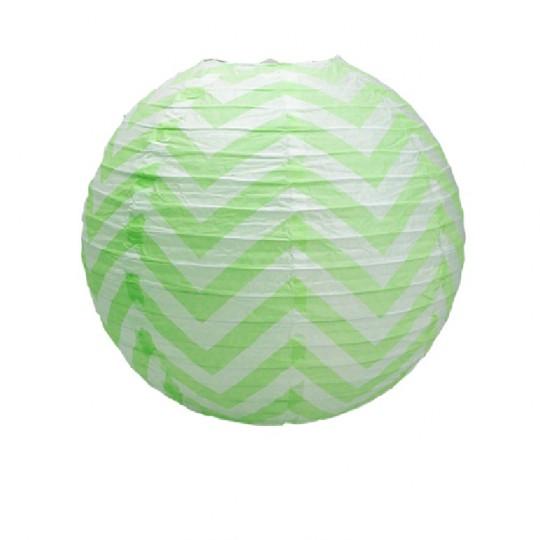 Boule japonaise décor chevron verte