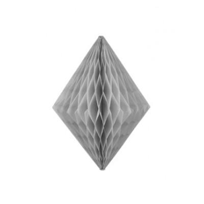 Lampion losange alvéolé gris