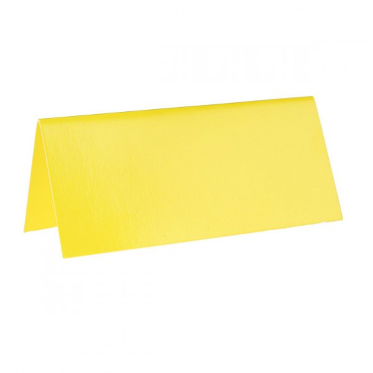 Marque place jaune rectangle, en carton.