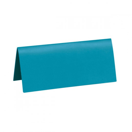 Marque place turquoise rectangle, en carton.