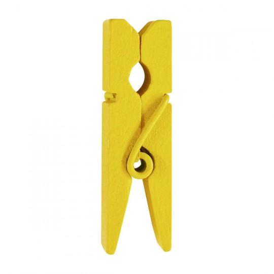 Mini pinces jaunes en bois