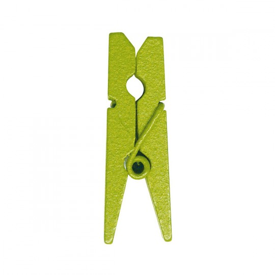 Mini pinces vertes en bois
